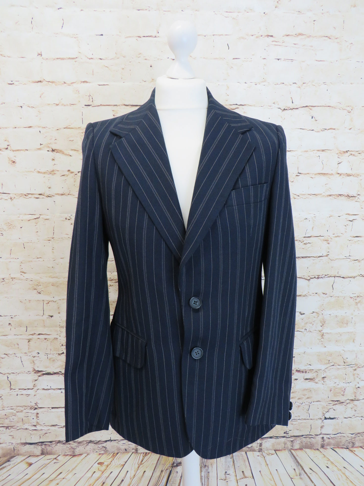 Austin Reed Navy Green Striped Boating Mod Blazer Timeslip Vintage